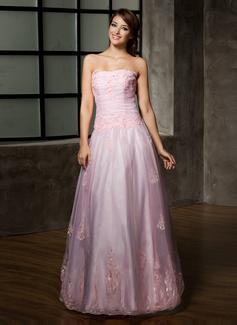 Vestidos princesa/ Formato A Sem Alças Longos Organza de Vestido quinceanera com Pregueado Bordado Apliques de Renda (021002858)