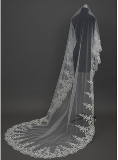One-tier Cathedral Bridal Veils With Lace Applique Edge (006034449)