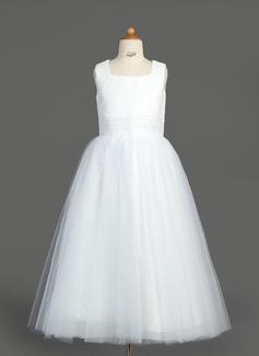 Vestidos princesa/ Formato A Comprimento médio Vestidos de Menina das Flores - Tule/Lantejoulas Sem magas Decote quadrado com Pregueado (010007313)
