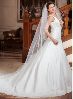 One-tier Cathedral Bridal Veils With Beaded Edge (006024434)