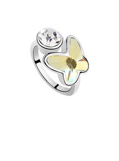 Butterfly Shaped Alloy With Imitation Crystal Ladies' Fashion Rings (011036068)