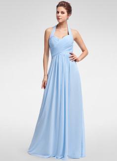 A-linjainen/Prinsessa Niskalenkillä Lattiaa hipova pituus Sifonki Morsiusneitojen mekko jossa Rypytys (007025356)