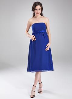 Império Sem Alças Coquetel Tecido de seda Vestido para madrinha grávida com Pregueado Cintos (045004407)