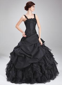 Платье для Балла квадратный вырез Длина до пола Тафта Органза Пышное платье с Бисер аппликации кружева Ниспадающие оборки (021018812)