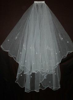 Due strati Velare da sposa gomito con Bordo ricamato (006035465)