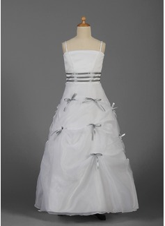 A-Line/Princess Floor-length Flower Girl Dress - Organza/Satin Sleeveless With Sash/Bow(s) (010016343)