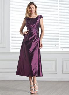 A-linjainen/Prinsessa Pyöreä kaula-aukko Polven alle Tafti Morsiusneitojen mekko jossa Rypytys Helmikuvoinnit Paljetit (007005303)