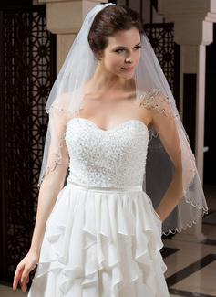 Zweischichtig Ellenbogen Braut Schleier mit Paillettenverzierung Kanten (006035827)