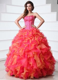 Corte de baile Escote corazón Vestido Organdí Satén Vestido de quinceañera con Bordado Cascada de volantes (021017362)