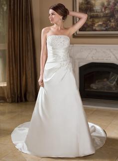 Forme Princesse Sans bretelle Traîne mi-longue Satiné Robe de mariée avec Plissé Dentelle Brodé (002012609)