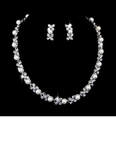 Bonito Liga com Pérola/Strass Senhoras Conjuntos de jóias (011027002)