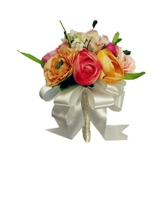 Girly Hand-tied/Round Satin Bridesmaid Bouquets (123031465)