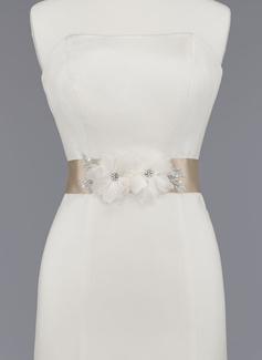 Nizza Satin/Organza Schleifenbänder/Stoffgürtel mit Perlstickerei/Blume (015012856)