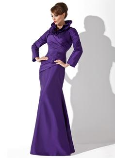 Trompete/Sereia Frente única Longos Tafetá Vestido para a mãe da noiva com Pregueado (008006080)