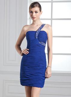 Etui-Linie One-Shoulder-Träger Kurz/Mini Chiffon Festliche Kleid mit Rüschen Perlen verziert (020003281)