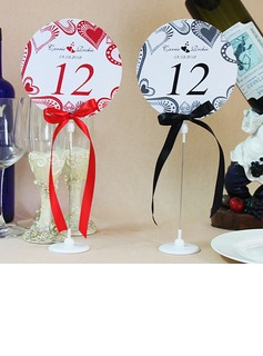 Personalized Love Design Paper Table Number Cards With Holder With Ribbons (Set of 10) (118032256)