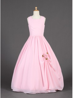 Ball Gown Floor-length Flower Girl Dress - Chiffon Sleeveless Square Neckline With Ruffles/Flower(s) (010014626)