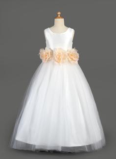 A-Line/Princess Floor-length Flower Girl Dress - Taffeta/Tulle Sleeveless Scoop Neck With Sash/Flower(s) (010014649)