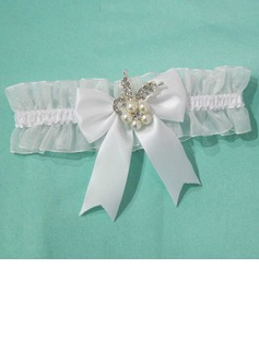 Delicate Satin Organza With Bowknot Rhinestone Wedding Garters (104035632)