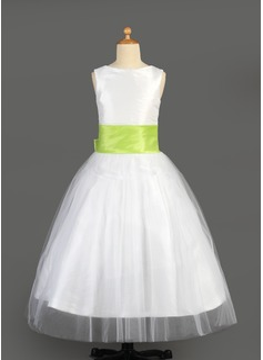 Vestidos princesa/ Formato A Longos Vestidos de Menina das Flores - Tule/Charmeuse Sem magas Decote redondo com Cintos/fecho de correr/Curvado (010014646)