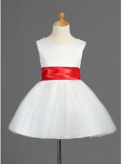 A-Line/Princess Short/Mini Flower Girl Dress - Satin/Tulle Sleeveless Scoop Neck With Sash/Bow(s) (010014598)