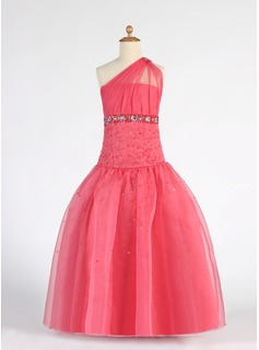 Ball Gown Floor-length Flower Girl Dress - Organza Sleeveless One-Shoulder With Ruffles/Beading/Sequins (010007333)