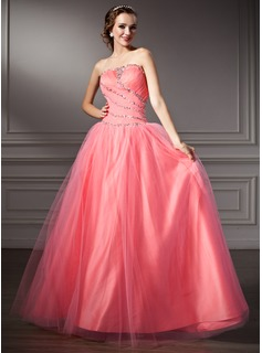 Ball-Gown Strapless Floor-Length Tulle Quinceanera Dress With Ruffle Beading Sequins (021002898)