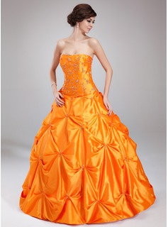 Ball-Gown Sweetheart Floor-Length Taffeta Quinceanera Dress With Ruffle Beading (021002891)