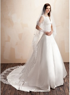 One-tier Cathedral Bridal Veils With Lace Applique Edge (006022639)