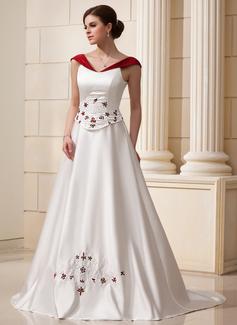Corte A/Princesa Hombros caídos Cola capilla Satén Vestido de novia con Bordado Flores (002011760)