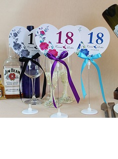 Personalized Heart Shaped Paper Table Number Cards With Holder With Ribbons (Set of 10) (118032238)