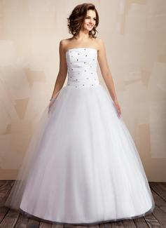 Duchesse-Linie Trägerlos Bodenlang Taft Tüll Brautkleid mit Rüschen Perlen verziert (002000041)
