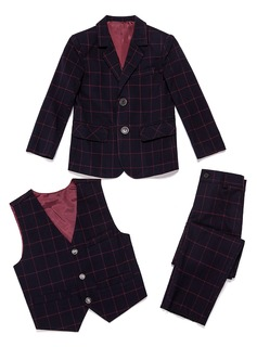 Boys 3 Pieces Plaid Ring Bearer Suits /Page Boy Suits With Jacket Vest Pants (287199777)