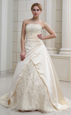A-Line/Princess Sweetheart Court Train Satin Organza Wedding Dress With Embroidered Beading (002011585)
