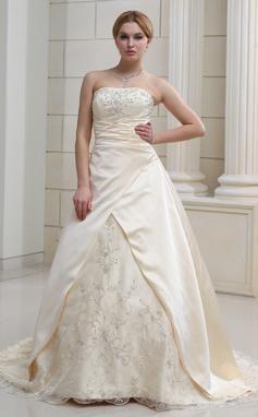 Трапеция/Принцесса В виде сердца Церемониальный шлейф Атлас Органза Свадебные Платье с Вышито Бисер (002011585)