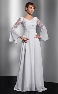 A-Line/Princess V-neck Chapel Train Chiffon Mother of the Bride Dress With Lace Beading (008014736)
