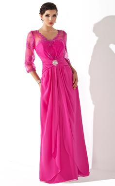 A-Line/Princess V-neck Floor-Length Chiffon Mother of the Bride Dress With Ruffle Cascading Ruffles (008005687)