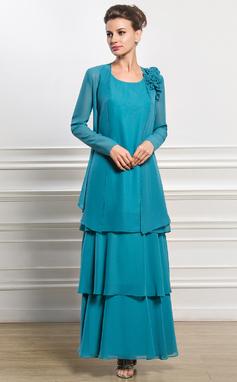Vestidos princesa/ Formato A Decote redondo Longuete De chiffon Vestido para a mãe da noiva (008056828)