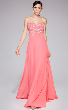 A-Line/Princess Sweetheart Sweep Train Chiffon Prom Dress With Beading Sequins (017041109)