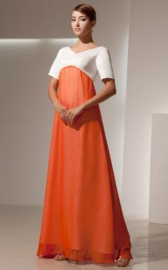 С завышенной талией V-образный Длина до пола шифон Атлас Платье Подружки Невесты (007014459)
