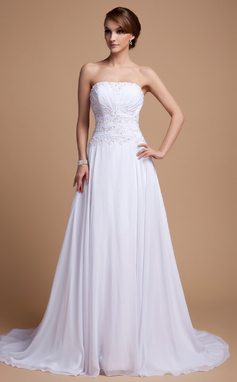 A-Line/Princess Strapless Court Train Chiffon Wedding Dress With Beading Sequins Cascading Ruffles (002014501)