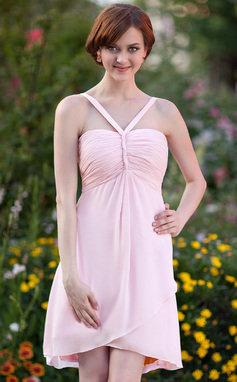 Empire V-neck Asymmetrical Chiffon Bridesmaid Dress With Ruffle (002025640)