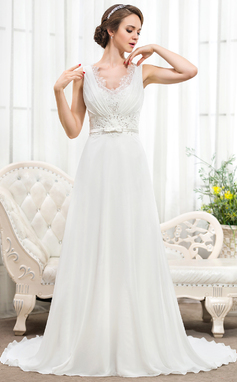 A-Line/Princess V-neck Court Train Chiffon Wedding Dress With Ruffle Lace Beading Sequins Bow(s) (002055921)