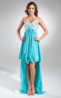Empire-Linie Schatz Asymmetrisch Chiffon Festliche Kleid mit Spitze Perlstickerei Pailletten Gestufte Rüschen (020015520)