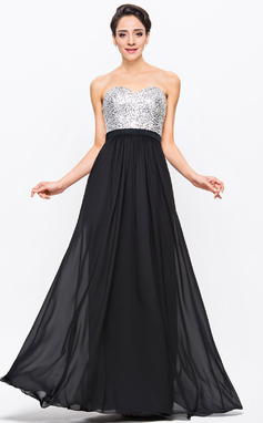 A-Line/Princess Sweetheart Floor-Length Chiffon Charmeuse Sequined Prom Dress With Beading (018056704)