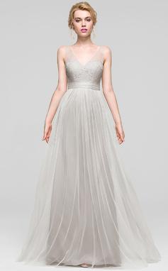 A-Line/Princess V-neck Floor-Length Tulle Bridesmaid Dress (007090200)