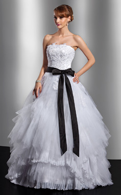 Ball-Gown Strapless Floor-Length Tulle Quinceanera Dress With Sash Appliques Lace Bow(s) Cascading Ruffles (021014738)