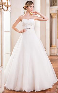 Corte de baile Escote corazón Hasta el suelo Organdí Vestido de novia con Volantes Bordado Lentejuelas (002051625)
