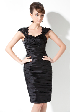 Sheath/Column Sweetheart Knee-Length Charmeuse Mother of the Bride Dress With Ruffle Lace Beading (008006476)
