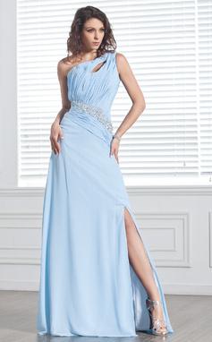 Corte A/Princesa Un sólo hombro Barrer/Cepillo tren Chifón Vestido de baile de promoción con Volantes Bordado Apertura frontal (018020895)